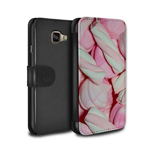 Stuff4® PU-Leder Hülle/Case/Tasche/Cover für Samsung Galaxy A3 (2016) / Marshmallow Muster/Süßwaren Kollektion