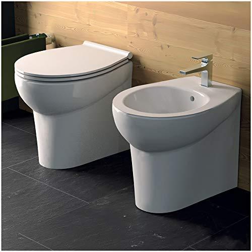 Inbagno Sanitari Bagno Filo Muro (o filoparete) Modello Ice SALVASPAZIO P. 49 cm - WC + Bidet + COPRIWC con Chiusura RALLENTATA Slim