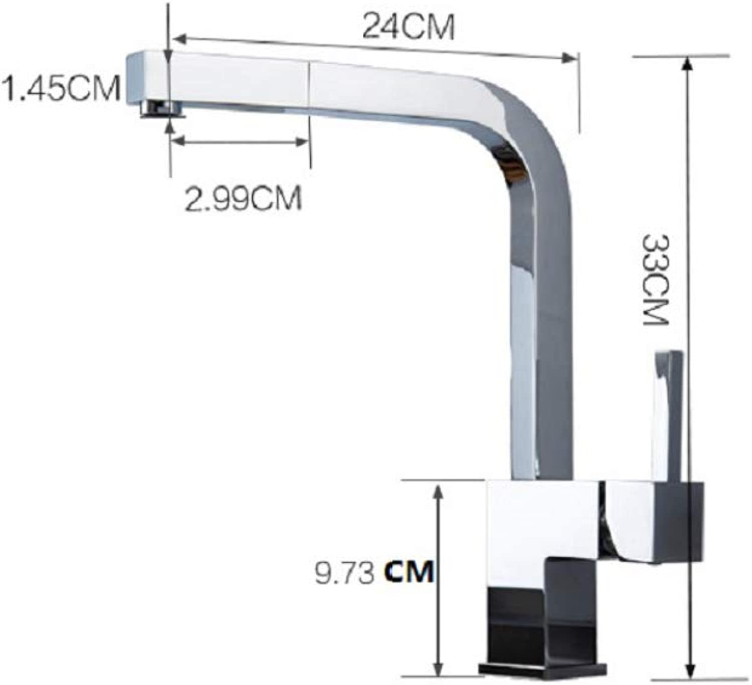 Water tap Household copper can pull the redating faucet, kitchen sink hot and cold water faucet,Silver,Cm