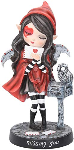 Figurine FEE Petite Fille Rouge ET SA Chouette (HT 16.5 X 10 cm) - Statuette FEE - Magie