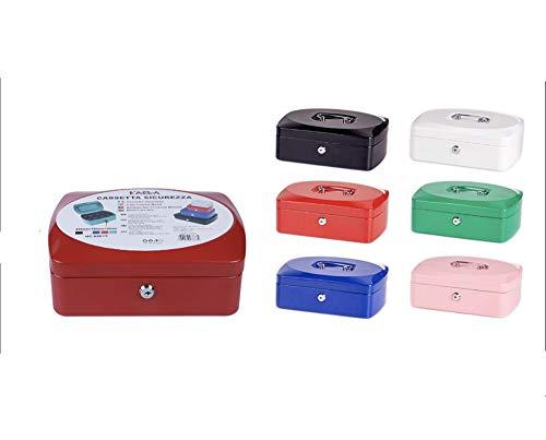 Vetrineinrete® Cassetta portavalori cassaforte di sicurezza in metallo con scomparto e divisori portamonete doppia chiave (25x19x9 cm) F38