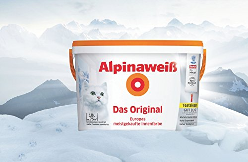 Alpinaweiß - Das Original, 10 Liter, weiße Wandfarbe, höchste Deckkraft, deckt beim ersten Anstrich