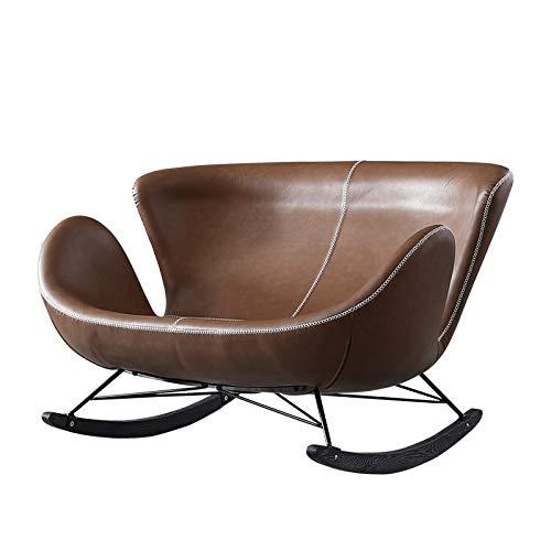 Yankuoo Accueil Deux Places Canapé, Style Industriel Retro Design Rocking Chair, Coussin éponge Haute élastique, Moderne Minimaliste Salon Chambre Balcon Chaise Loisirs (Color : Brown)