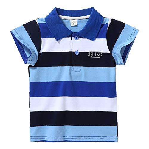 Miyanuby Polo per Neonato Polo Classica A Maniche Corte A Righe Maglietta per Bambini Magliette Estive Magliette 2-7 Anni