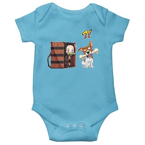 OKIWOKI Demon Slayer Lustiges Blau Kurzärmeliger Baby-Bodysuit (Jungen) - Nezuko Kamado (Demon Slayer Parodie signiert Hochwertiges Baby-Bodysuit in Größe 56 - Ref : 1177)