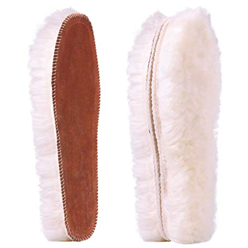 Ailaka Women's Premium Thick Sheepskin Insoles/Inserts, Warm Fluffy Fleece Wool Replacement Insoles for Shoes Boots Slippers