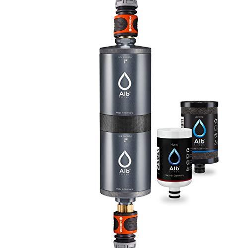Alb Filter® FUSION Active+Nano Trinkwasserfilter gegen Schadstoffe und Keime | Mobil Gardena Anschluss-Set | Made in Germany - Titan