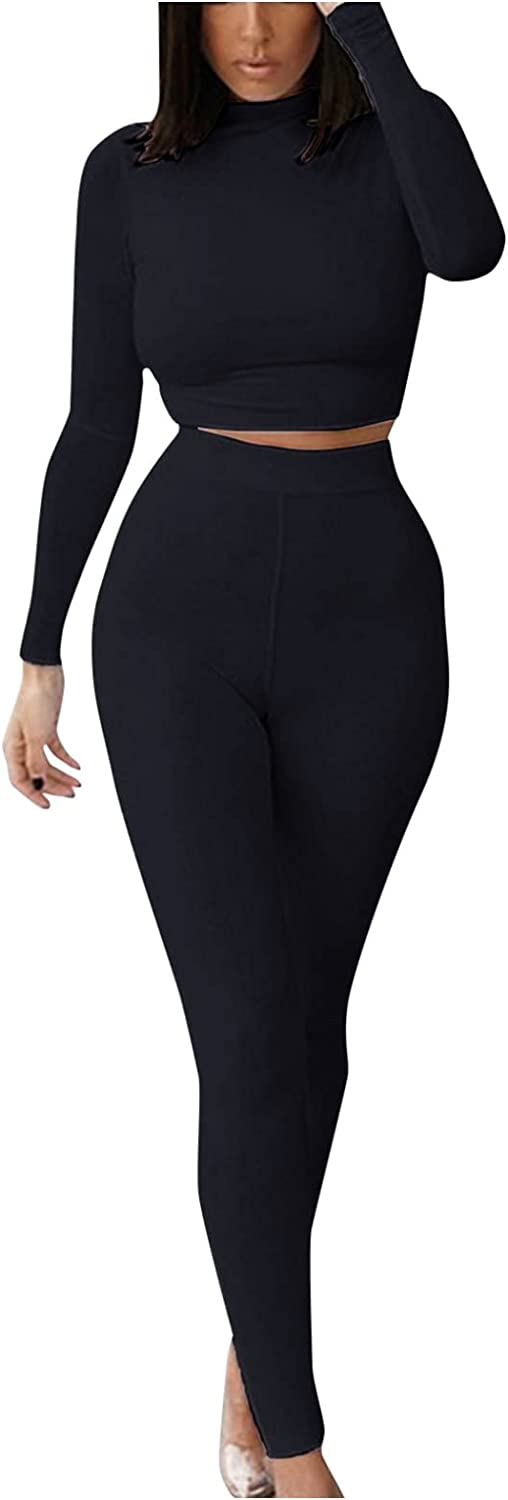 Bmisegm Womens High Waisted Workout Sets 2 Piece-Seamless Sports Pullover Tops Sweatsuit