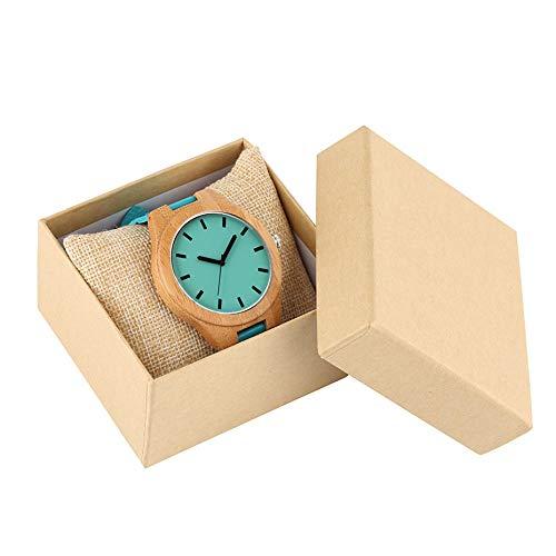 IOMLOP Reloj de Madera Relojes de Pulsera de Madera de bambú Reloj Casual para Hombre Esfera de Color Azul Correa de Cuero Relojes Deportivos para Hombres Relojes Reloj Masculino Regalos, con Caja