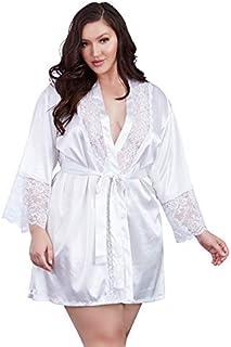 ملابس داخلية للنساء من Dreamgirl مقاس كبير من الساتان Charmeuse مع تفاصيل الدانتيل