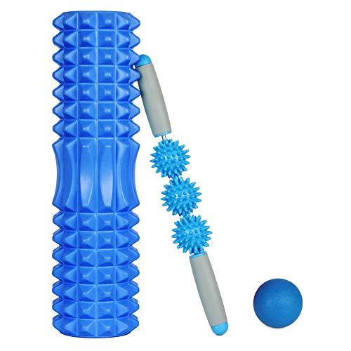 Rodillo de Yoga,Foam Roller,Rodillos de Espuma para Ejercicios musculares Foam Roller Kit con Rejilla de Liberación Miofascial, 3-en-1 Kit de Rodillo Masaje Muscular con Rodillos de Espuma (Armada)