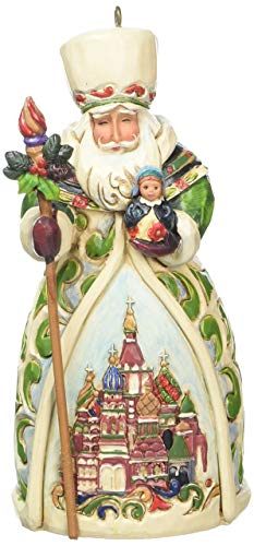 "Jim Shore Heartwood Creek Russian Santa Stone Resin Hanging Ornament, 4.75"""