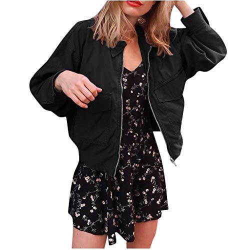 Bumplebee Oberteile Damen Elegant Reißverschluss Bomberjacke Damen Schwarz Kurz Revers Jacke mit Taschen Mode Einfarbige Outwear Sweatshirt...