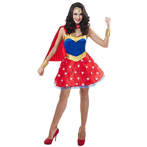 Sincere Party Disfraz de superhéroe para Mujer con Capa de satén, puños de Spandex, Casco de Spandex (42-44)