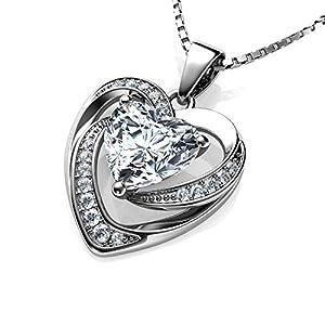 DEPHINI weiße Herz-Halskette aus 925er Sterlingsilber, hochwertiger CZ-Kristallanhänger, Geburtsstein, schöner Liebesschmuck