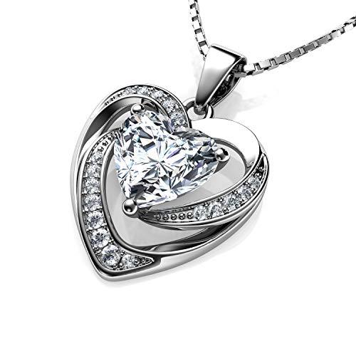 DEPHINI - Collar de corazón blanco - Plata de ley 925 - Colgante de cristal de circonita cúbica - Joyería fina - Cadena de plata chapada en rodio de 18 pulgadas - Circonita cúbica