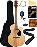 Jasmine S34C NEX Cutaway Acoustic Guitar - Natural Bundle with Gig Bag, Strings, Tuner, Strap, Picks, Instructional Book, DVD, and Austin Bazaar Polishing Cloth