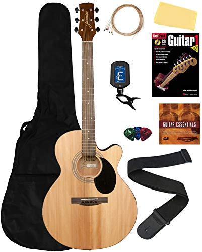 Jasmine S34C NEX Cutaway Acoustic Guitar - Natural Bundle with Gig Bag, Strings,...