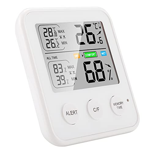 NGFU Termómetro de Interior Higrómetro Medidor de Humedad Monitor de Temperatura Y Humedad con Sensores de Doble Sonda Precisos para Dormitorio Reptiles de Mascotas Plantas Invernadero