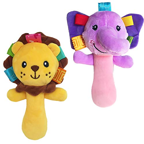 Cartoon Stuffed Animal Baby Soft Plush Hand Rattle Squeaker Sticks for Toddlers  Elephant and Lion