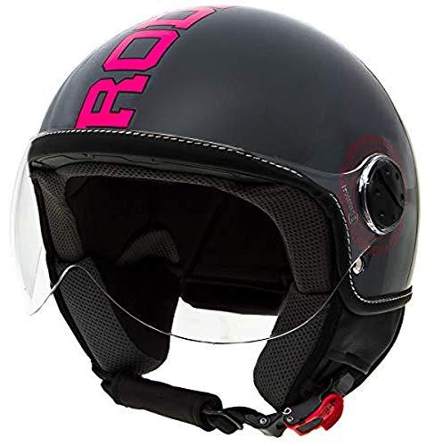 casco scooter omologato donna Rodeo Drive RD112 casco scooter con visiera elicotterista; antracite - fuxia; medium
