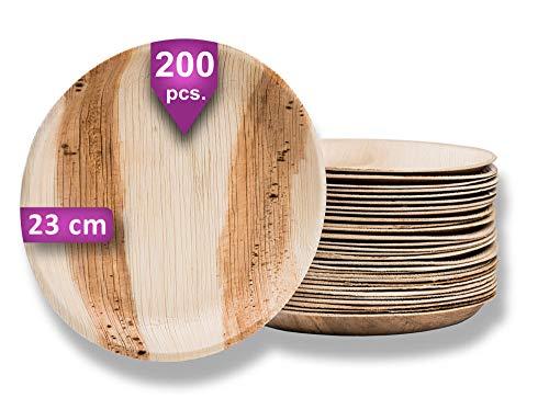 Waipur Platos Hoja de Palma Orgánicos – 200 Platos Desechables Redondos Ø 23 cm - Vajilla Ecológica de Lujo, Estable, Natural y Biodegradable - Platos de Fiesta – como Platos Bambu