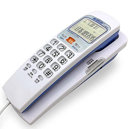 Teléfono con Cable montado en la Pared, pequeño para Llevar la Pantalla de identificación de Llamadas, teléfonos con Botones Grandes para Personas Mayores,White