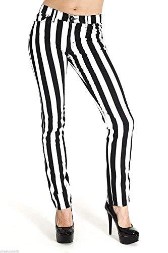Run & Fly Neu Damen Skinny Stretch Mid Rise Schwarz und Weiß 1 Streifen Jeans Indie Retro - schwarz mit weiß Streifen, Schwarz mit Weiß Gestreift, UK 14-32