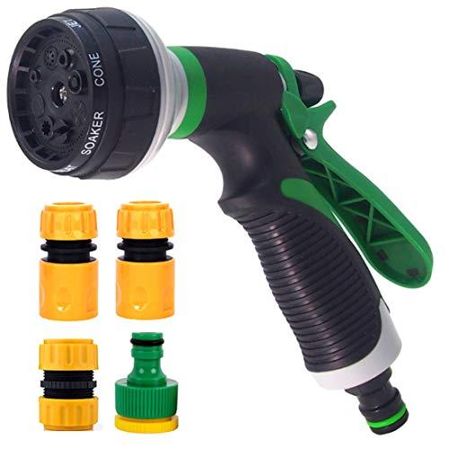 MyLoveBiTi Pistola de Riego Pistola de Agua de Jardín con 8 Modos Duchas de Jardín Pistola Pulverizadora con 4 Conectores, para Lavado de Coches,Baño de Mascotas,Riego de Jardín/Césped