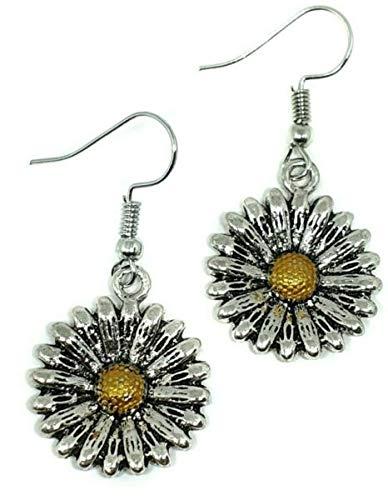 TANAMI Earrings Supplies for Earrings Daisy Flower Metal Fun Cute Girly Boho Drop Dangle Earrings Front Great for DIY Jewelry Gift for Women Girls