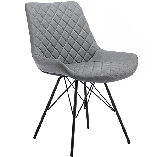 Tanant Juego de 2 sillas de comedor de piel sintética tapizadas con respaldo alto patas de acero, vestidor, hogar, sillas modernas para cocina, comedor, dormitorio, sala de estar