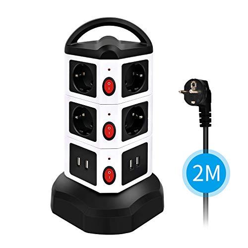 Wesimplelife 10 Fach Steckdosenleiste (2500W/10A) 4 USB Mehrfachsteckdose mit 3 Schalter Steckerleiste Mehrfachsteckdosen mit 2,0 m Kabel, Überspannungsschutz, Steckdosenverteiler für Zuhause Büro