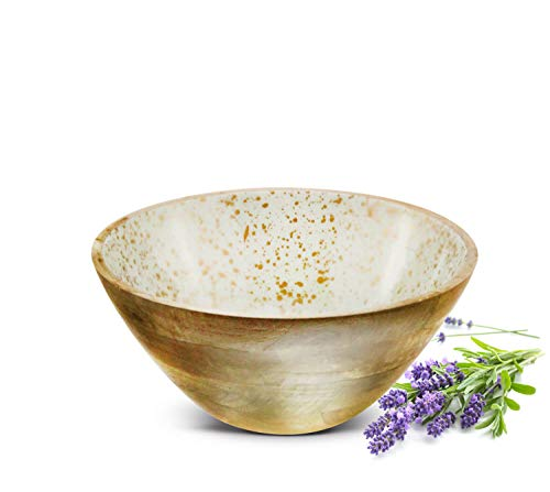 Sendez Schale aus Mangoholz mit Emaillebeschichtung in Natur/Gold Ø25cm Salatschüssel Schale Dekoschale
