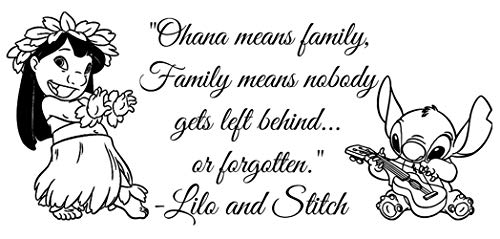 Wandtattoo Wohnzimmer Wandtattoo Schlafzimmer Ohana Familie Zitat Ohana Kindergarten inspiriert Wall Decal Lilo Stitch Ohana Hawaii Maui Hono Hibiskus Vinyl Auto/Wall Decal Aufkleber