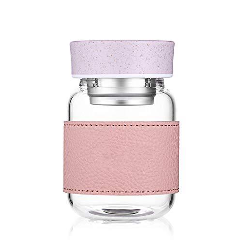 Botella de agua de 360 ml con partición de té y tapa de cristal para oficina, hogar, tazas