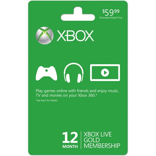 Xbox Live Subscription Gold Card
