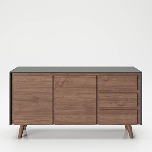 PLAYBOY Sideboard mit 3 Schubladen und 3 Türen,sanft-schliessend, grau Nussbaumdekor, Kommode mit Stauraum im Retro-Design für Wohn-und Essbereich, Speisezimmer, Diele, Flur und Schlafzimmer
