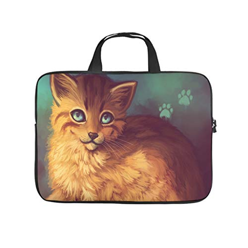 cute cat artwork painting digital animals Laptop bag Pattern Laptop Case Bag Customized Water Resistant Laptop Sleeve with Portable Handle for Women Men white 15 zoll