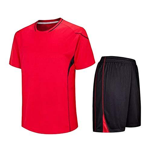 Meijunter Kind Erwachsene Fußball T-Shirt & Shorts Set - Team Training Wettbewerb Sportbekleidung Im Freien Kostüm Soccer Jerseys Uniforms, Rot, Tag 155-160CM = UK/EU/US/AUS 135-140CM