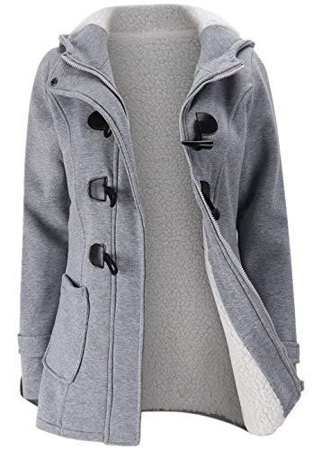 JiangWu Womens Fashion Horn Button Fleece Thicken Coat with Hood Winter Warm Jacket (Medium, Light-gray)