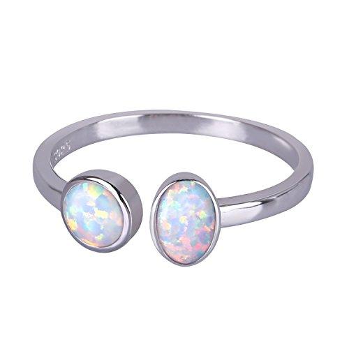 KELITCH Ringe Zum Frau Mädchen 925 Sterling Silber Überzogen Doppelt Einseitig Geschaffen Opal Öffnen Ring Weiß - Größe TU