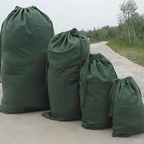 FEVERWORK Canvas dragsko stor väska påse kläder mörkgrön förvaring hem tvättpaket – #1
