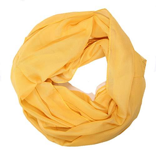 MANUMAR Loop-Schal für Damen einfarbig | feines Hals-Tuch in hell orange als perfektes Herbst Winter Accessoire | Schlauch-Schal | Damen-Schal | Rund-Schal | Geschenkidee für Frauen und Mädchen