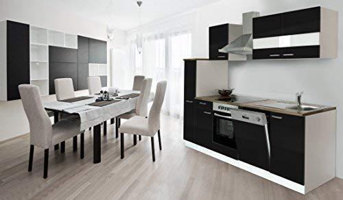 respekta Küche Küchenzeile Einbauküche Küchenblock 250 cm Weiss schwarz Soft Close Ceran