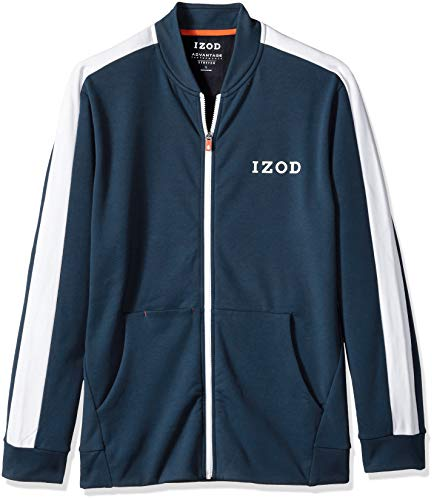 IZOD Men's Advantage Performance Full Zip Stripe Track Jacket, Midnight Heather, X-Large