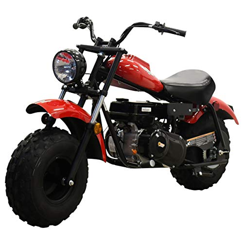 Massimo Motor Warrior200 196CC Engine Super Size Mini Moto Trail Bike MX Street for Kids and Adults Wide Tires Motorcycle Powersport CARB Approved (Red)