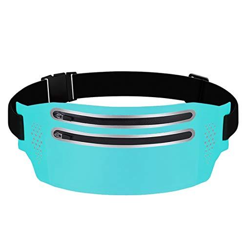 wetry Riñonera Deportiva Running Cartera para la Cintura Impermeable Cremallera Cinturón para Correr para Fitness Viaje o Deportes al Aire Libre Azul