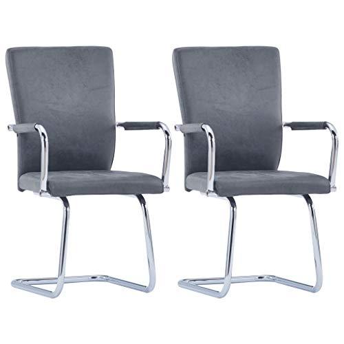 Tidyard 2er Set Esszimmerstühle Essstuhl Esszimmerstuhl Stühle Mit hohe Rückenlehne,Schwingstuhl Küchenstuhl Essgruppe Wohnzimmerstühle 52 x 54 x 92 cm Mit Armlehnen,Kunstleder