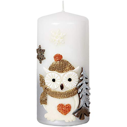 Adpal Kerzenmanufaktur Candela 7x 15cm di Natale Candela Gufo Motivo Cappello Argento Bianco Natale Candela