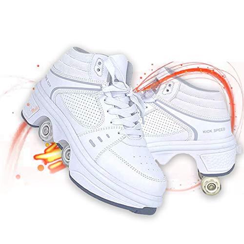 Modway Patines para Niños, Patines 2 en 1 Patines en Línea Zapatos - Diseño Plegable Deformable - Actuación Hombres de Patines,Led High Top/White,US 9.5